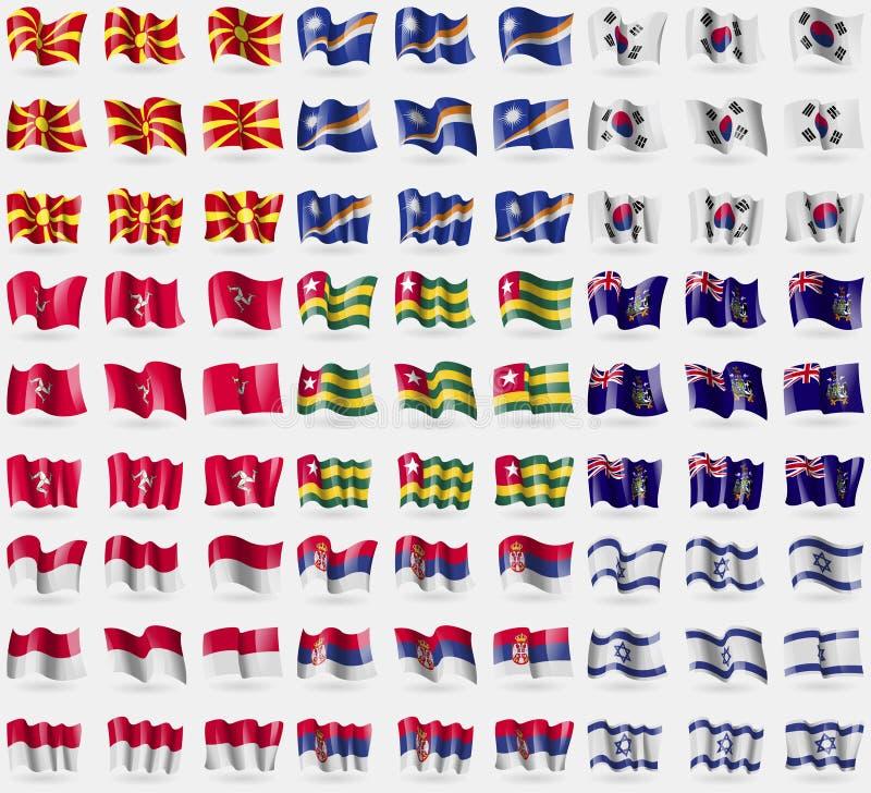 La république de Macédoine, Marshall Islands, la Corée du Sud, île de l'homme, le Togo, la Géorgie et le sandwich, Indonésie, Ser illustration stock