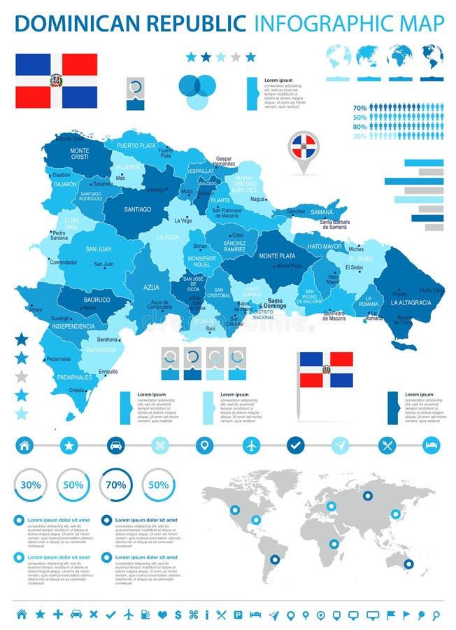 La République Dominicaine - carte et drapeau infographic - illustration détaillée de vecteur illustration de vecteur