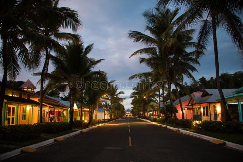 La République Dominicaine de nuit photographie stock