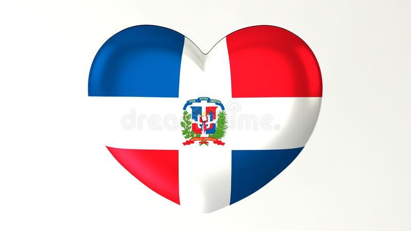 La République Dominicaine du drapeau 3D d'amour en forme de coeur de l'illustration I illustration de vecteur
