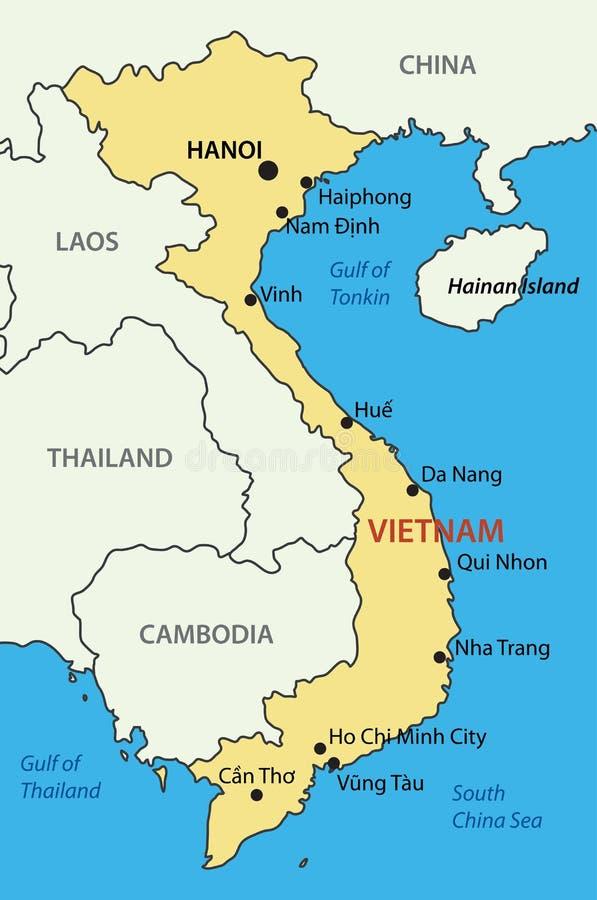 La république Socialiste du Vietnam - carte de vecteur illustration stock