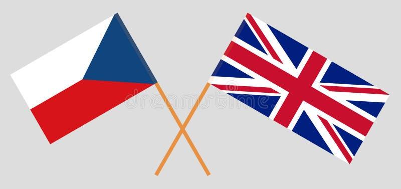 La République Tchèque BRITANNIQUE et Drapeaux britanniques et tchèques illustration libre de droits