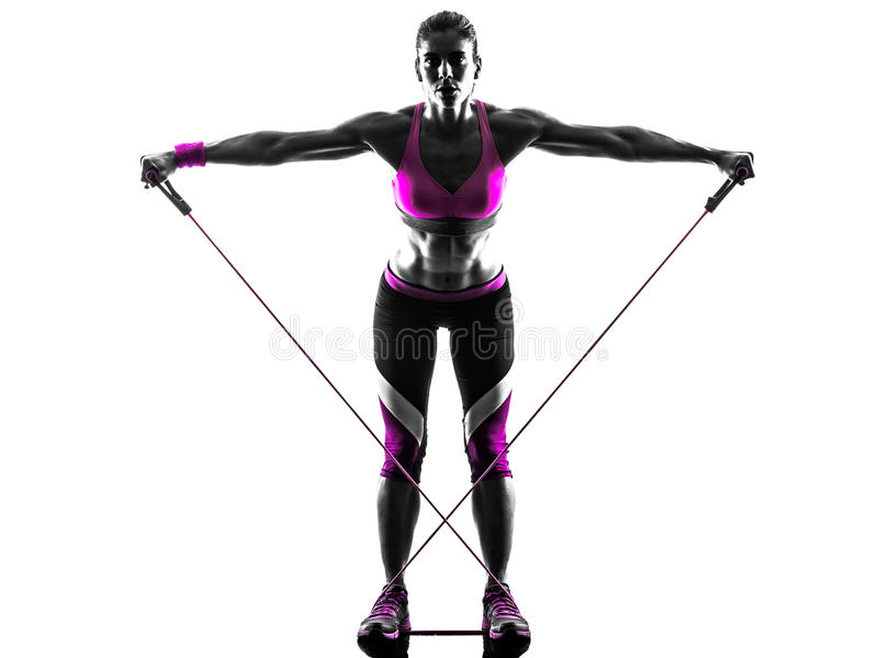 La résistance de forme physique de femme réunit la silhouette photo stock