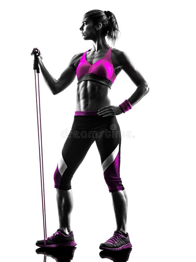 La résistance de forme physique de femme réunit la silhouette d'exercices images stock