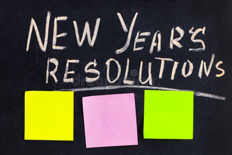 La résolution du ` s de nouvelle année de mot écrite sur le tableau noir avec le bl photo stock