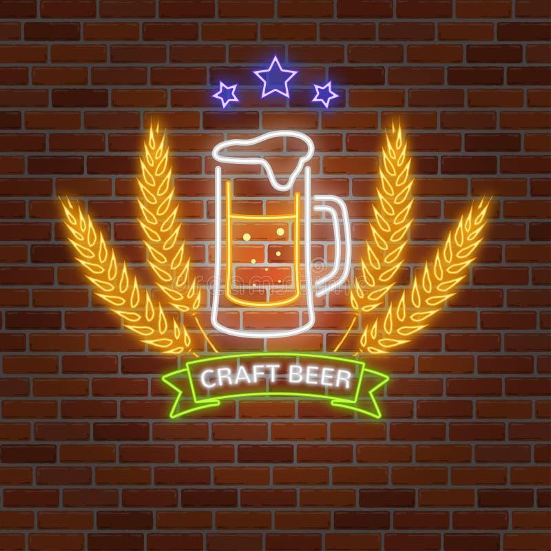 La rétro barre au néon de bière se connectent le fond de mur de briques illustration de vecteur