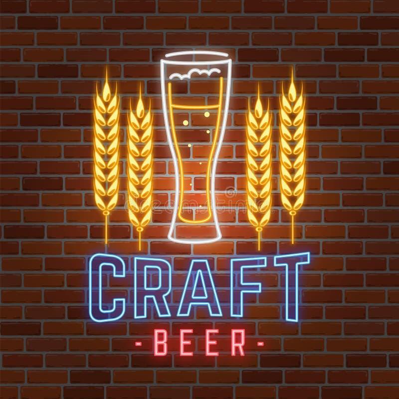 La rétro barre au néon de bière se connectent le fond de mur de briques illustration libre de droits