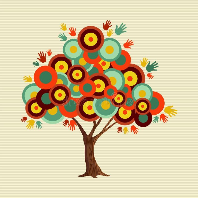 La rétro couleur forme la décoration d'arbre de concept illustration libre de droits