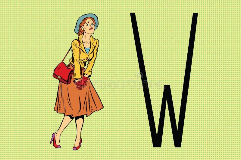 La rétro femme veut faire pipi dans la toilette illustration libre de droits
