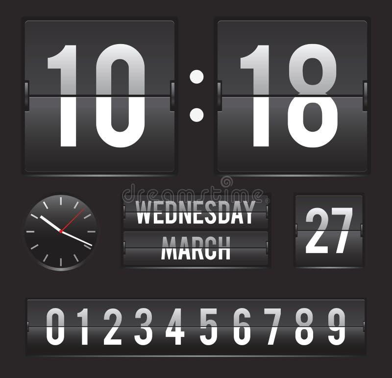 Rétro horloge de secousse avec la date et la double minuterie illustration libre de droits