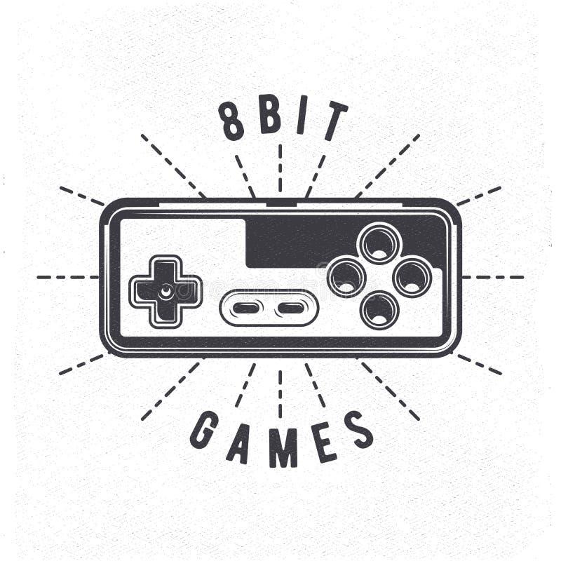 La rétro manette de jeu vidéo de 8 bits 80 du ` s peut être utilisée comme l'insigne, le label, l'emblème, l'autocollant, la bann illustration de vecteur