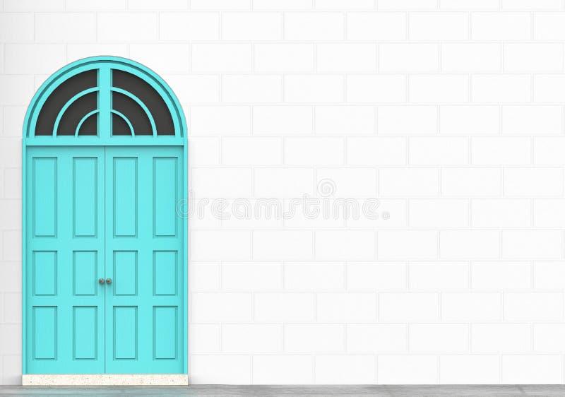 La rétro porte bleue avec la brique blanche bloque le mur pour l'espace de copie illustration stock