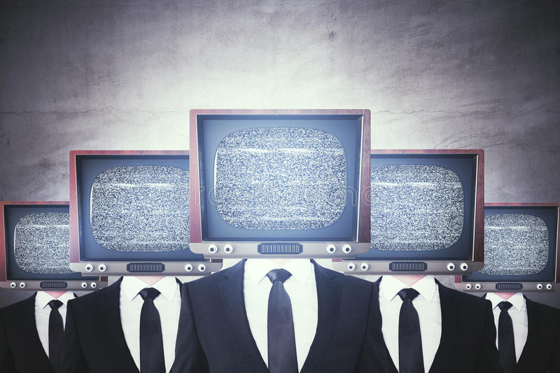 La rétro TV a dirigé des hommes d'affaires illustration stock