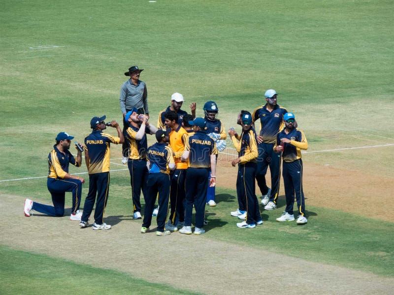 La réunion d'équipe, boit la coupure dans le cricket photo libre de droits