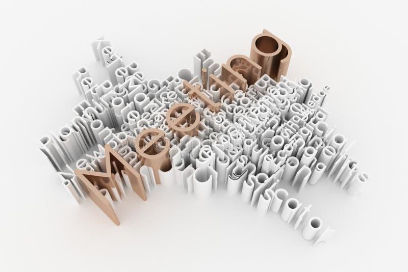 La réunion, le mot-clé d'affaires et les mots opacifient Pour la page Web, la conception graphique, la texture ou le fond rendu 3 illustration stock