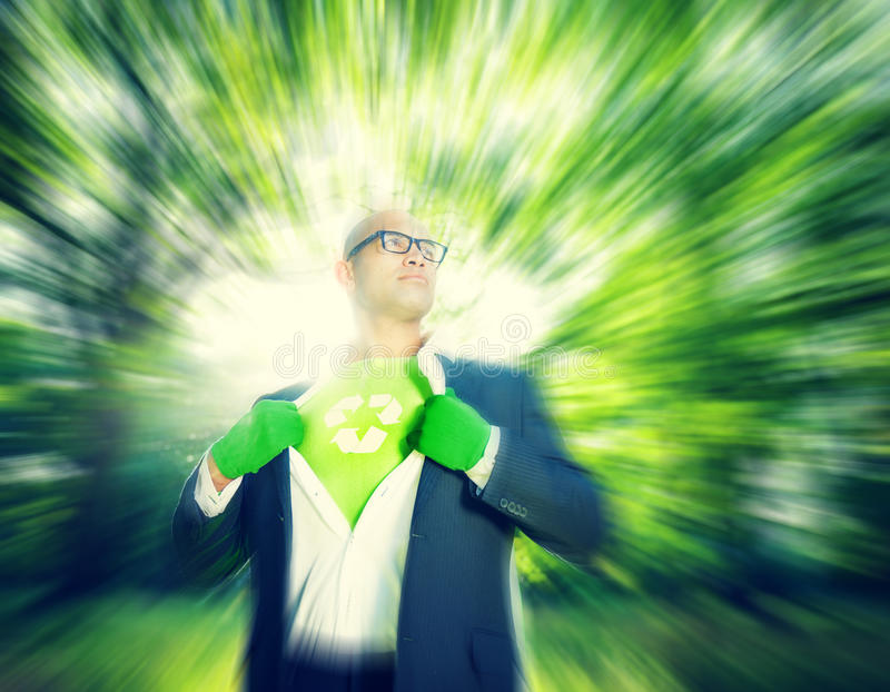 La réutilisation conservatrice réduisent l'homme d'affaires Concept d'environnement photo stock