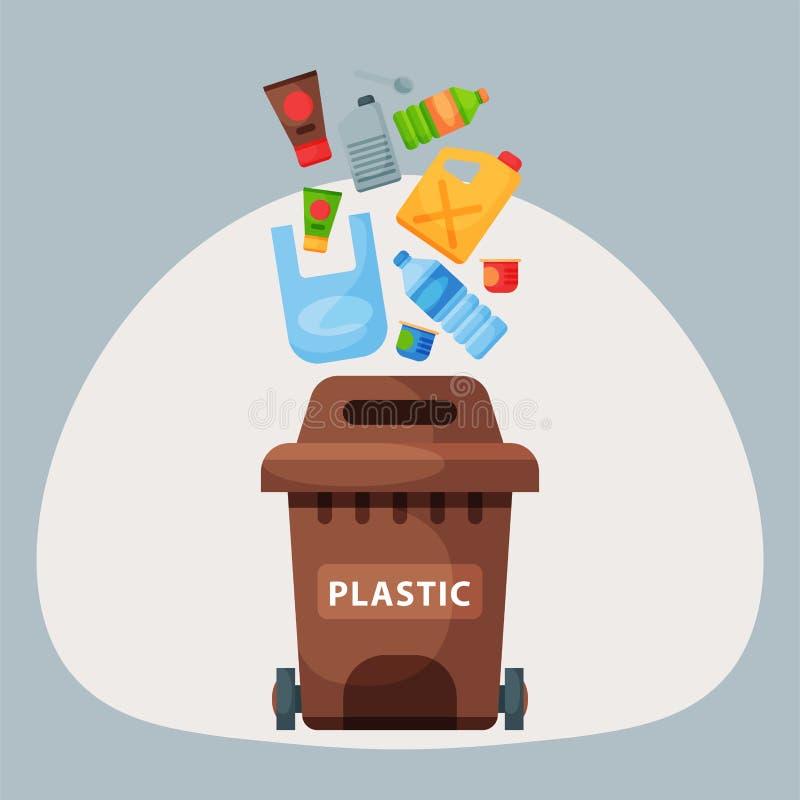La réutilisation de la gestion en plastique de pneus de déchets d'éléments de déchets que l'industrie utilisent des déchets peut  illustration stock