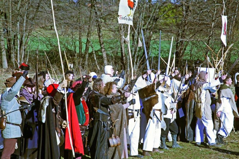 La révolte a des paysans d 1573 , reconstitution de la bataille finale, 6, Donja Stubica, Croatie, 2016 image stock