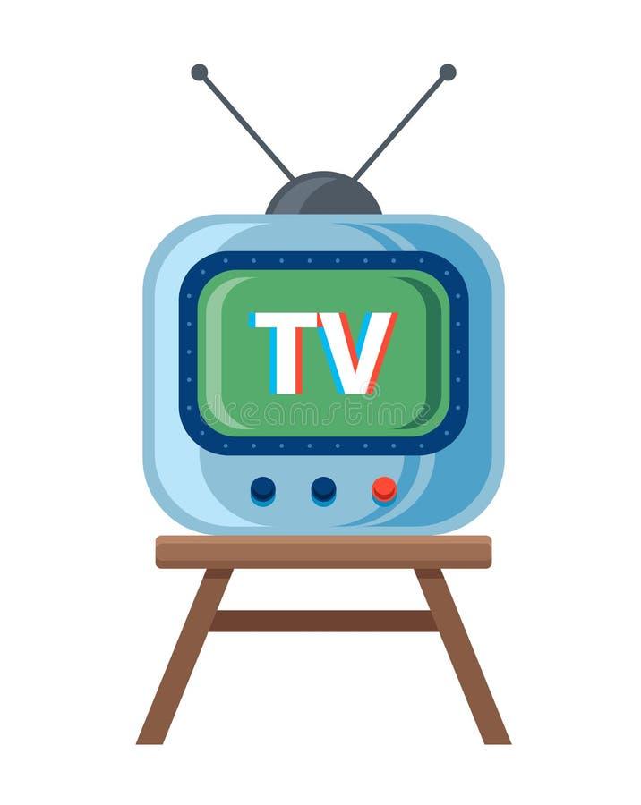 La r?tro TV avec l'antenne se tient sur la chaise Fond blanc illustration de vecteur