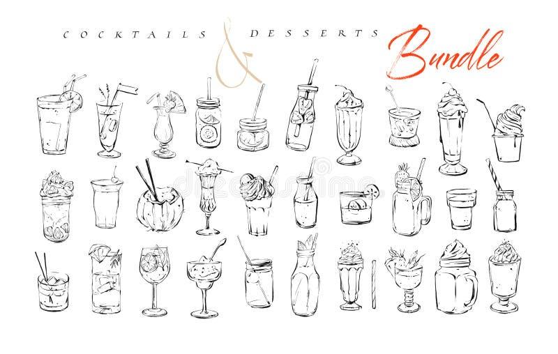 La raccolta artistica strutturata disegnata a mano dell'inchiostro del menu della barra del grafico di vettore ha messo le illust royalty illustrazione gratis