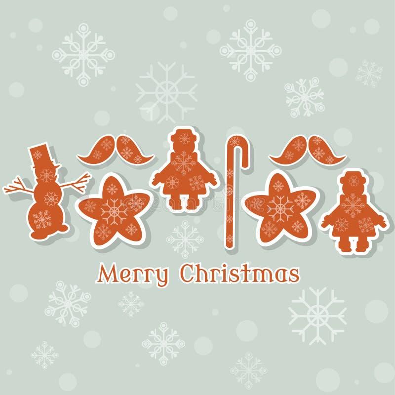 La raccolta d'annata di Natale gioca il retro natale del pupazzo di neve illustrazione vettoriale