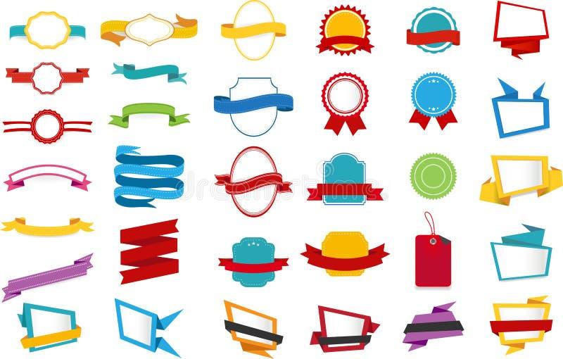 La raccolta decorativa di progettazione dei nastri identifica le insegne degli autoadesivi illustrazione di stock