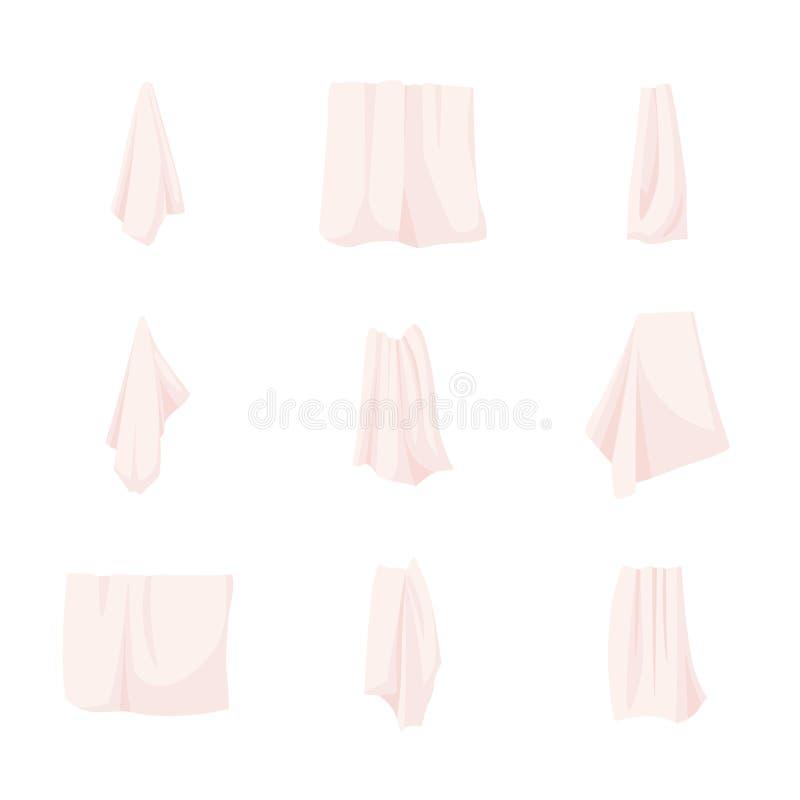 La raccolta degli asciugamani bianchi del tessuto del bagno e della mano ha rotolato, appendendo sulla ferrovia o sull'anello, tr illustrazione di stock