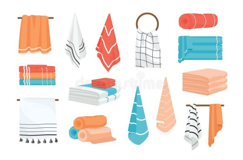 La raccolta degli asciugamani del tessuto del bagno e della mano ha rotolato, appendendo sulla ferrovia o sull'anello, trovantesi illustrazione di stock
