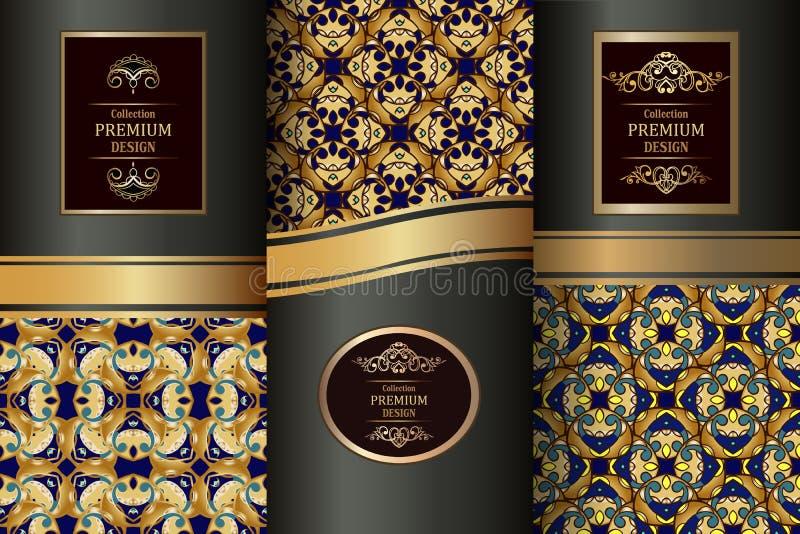 La raccolta degli elementi di progettazione, etichette, icona, incornicia, per l'imballaggio, il fondo di lusso Elementi d'annata illustrazione di stock