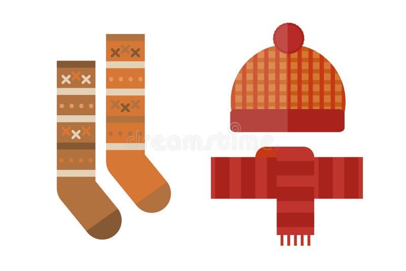 La raccolta degli oggetti messi vestiti di autunno i guanti della sciarpa del cappello di caduta ricopre il vettore del vin brulé royalty illustrazione gratis