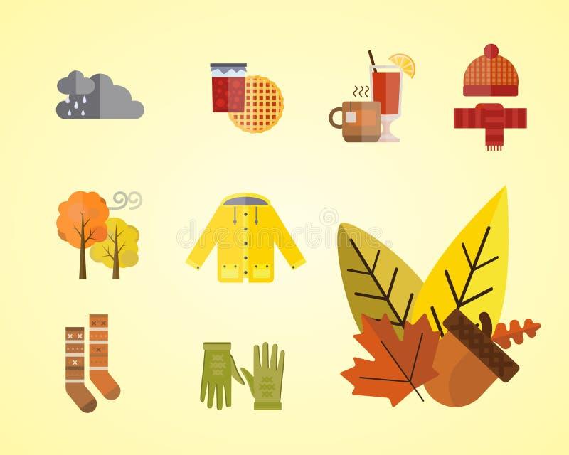 La raccolta degli oggetti messi vestiti di autunno la ghianda di caduta lascia gli stivali dei calzini del parka dell'impermeabil royalty illustrazione gratis