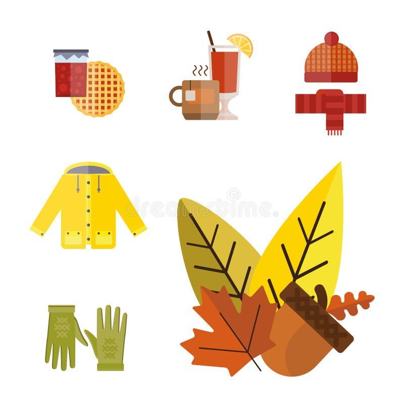 La raccolta degli oggetti messi vestiti di autunno la ghianda di caduta lascia gli stivali dei calzini del parka dell'impermeabil illustrazione vettoriale