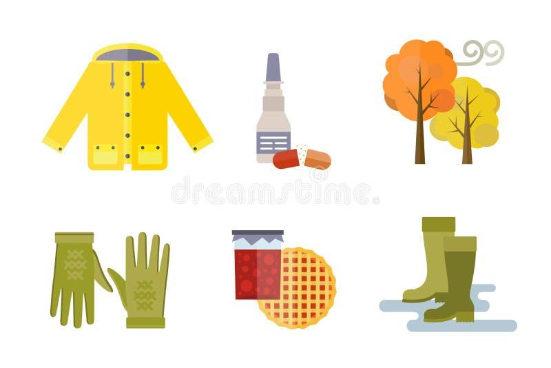 La raccolta degli oggetti messi vestiti di autunno la ghianda di caduta lascia gli stivali dei calzini del parka dell'impermeabil illustrazione di stock