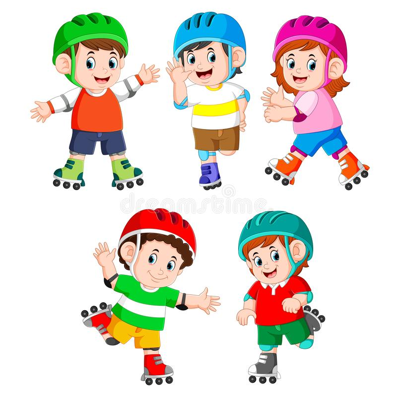La raccolta dei bambini che giocano il pattino di rullo royalty illustrazione gratis