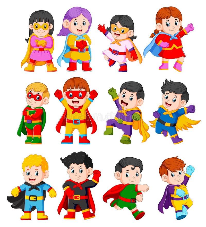 la raccolta dei bambini che per mezzo del costume dei supereroi illustrazione vettoriale