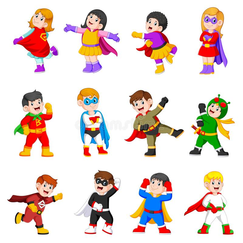 La raccolta dei bambini sta utilizzando il costume dei supereroi illustrazione di stock