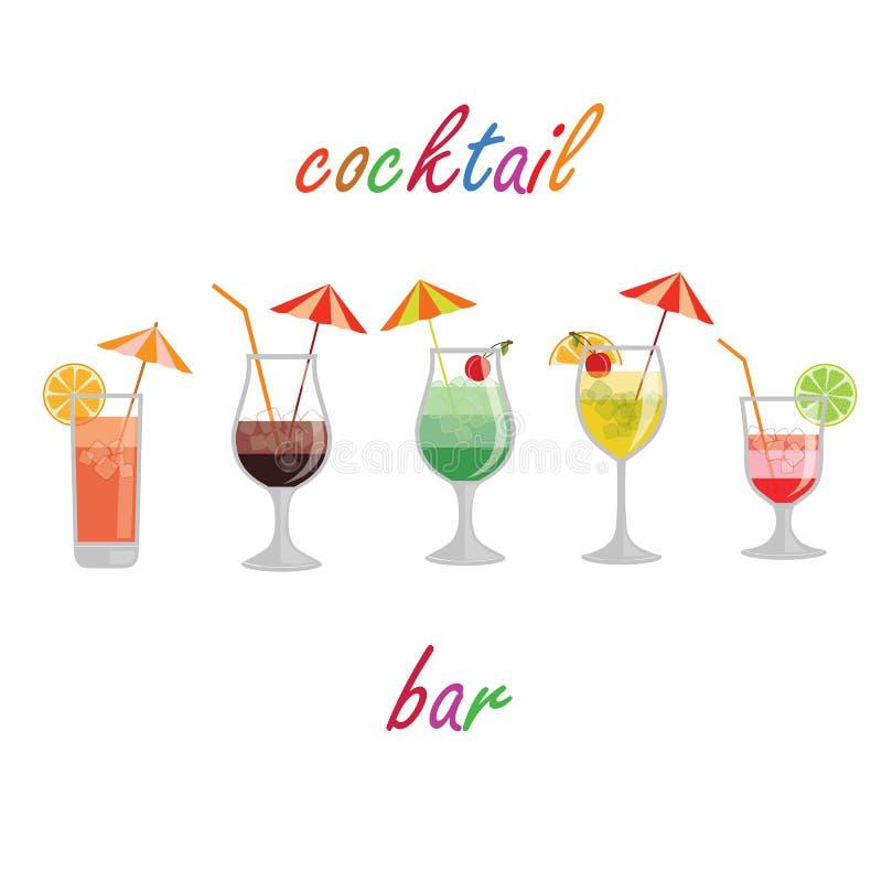 La raccolta dei cocktail e di altro dell'alcool beve fotografia stock libera da diritti