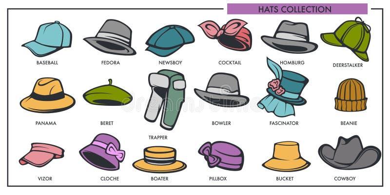La raccolta dei modelli dei cappelli dell'uomo e della donna di retro e tipo moderno vettore di modo ha isolato le icone royalty illustrazione gratis