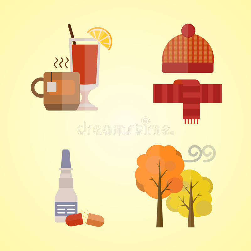 La raccolta dei vestiti di autunno ha messo gli oggetti che la caduta lascia il freddo dell'albero il tè rosso dei guanti della s illustrazione vettoriale