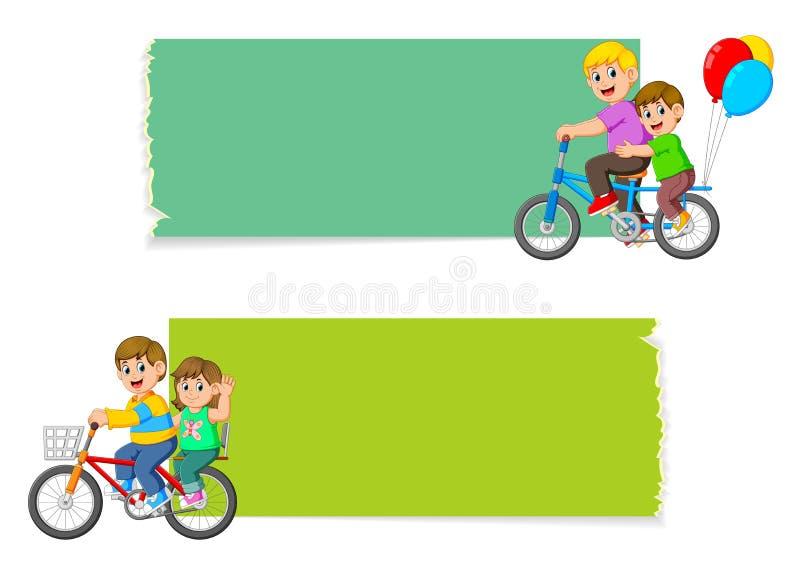 La raccolta del bordo in bianco con i bambini che guidano la bicicletta illustrazione di stock