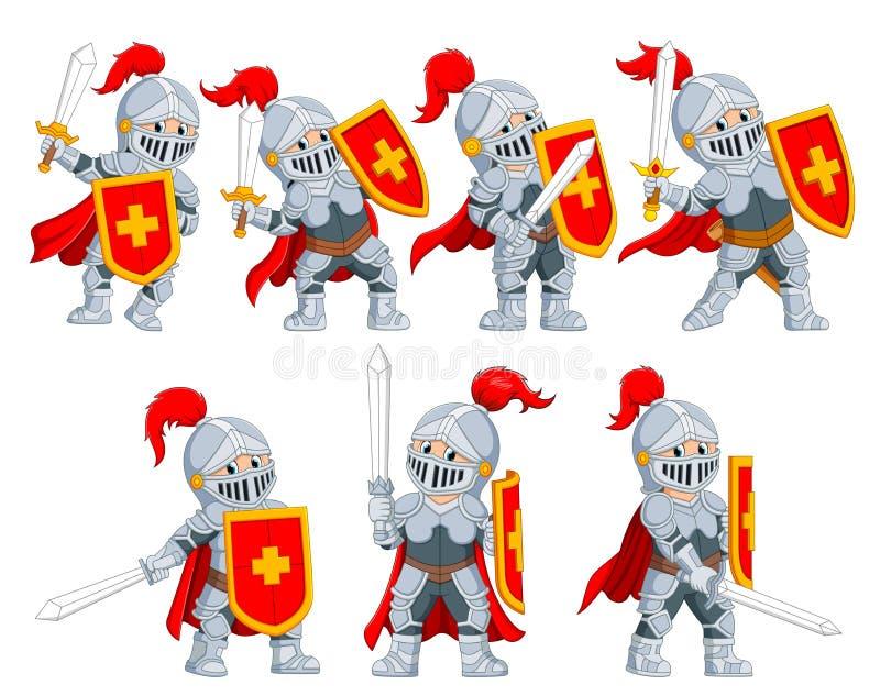 La raccolta del cavaliere con la posa differente illustrazione vettoriale
