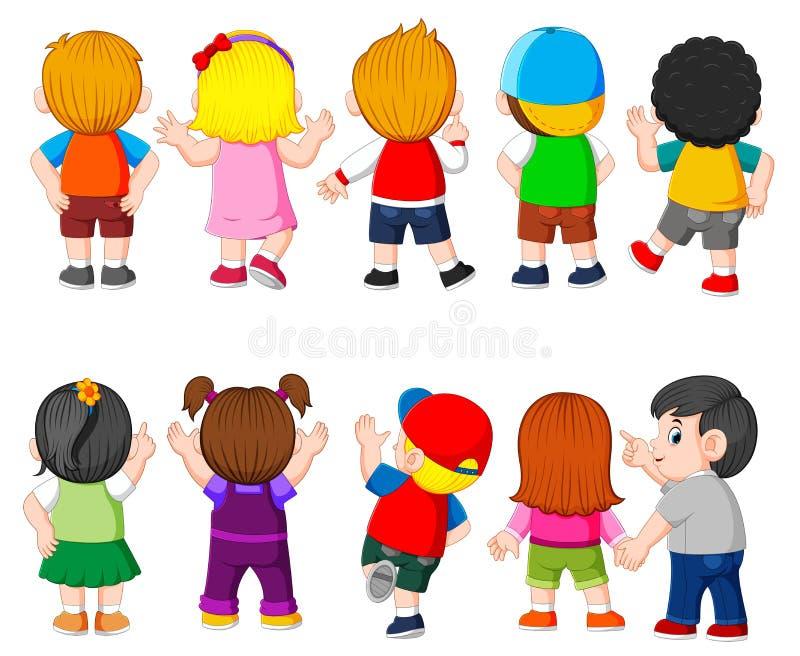 La raccolta del costume dello studente con il colore differente royalty illustrazione gratis