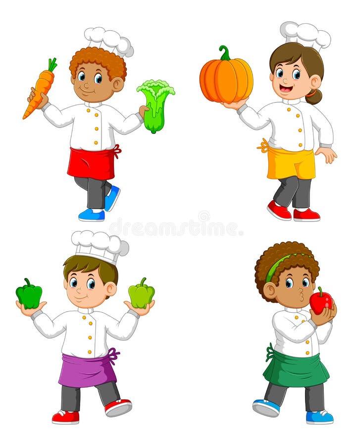 La raccolta del cuoco unico che tiene le verdure sulle loro mani royalty illustrazione gratis