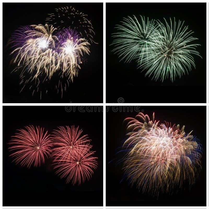La raccolta del fuoco d'artificio variopinto luminoso ha scoppiato le esplosioni sul nero fotografia stock libera da diritti