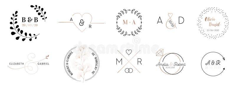 La raccolta del logos del monogramma di nozze, le carte minimalistic e floreali moderne disegnate a mano dell'invito dei modelli, illustrazione di stock