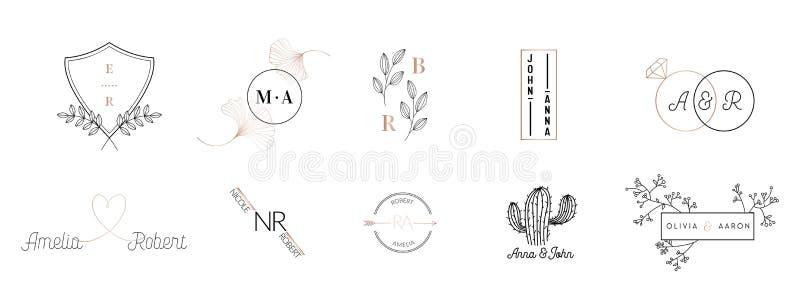 La raccolta del logos del monogramma di nozze, modelli floreali minimalistic moderni disegnati a mano per le carte dell'invito, c illustrazione vettoriale