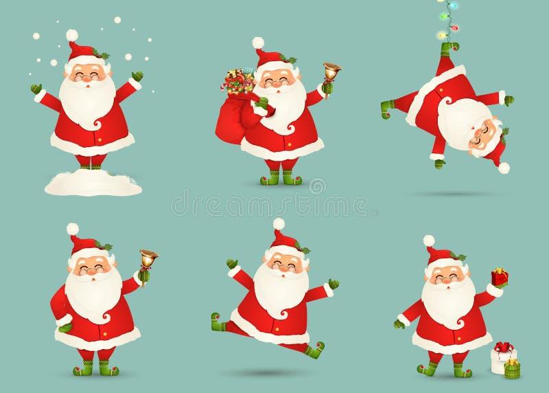 La raccolta del Natale sveglio Santa Claus ha isolato Insieme di Natale del Babbo Natale allegro e divertente per le vacanze inve royalty illustrazione gratis