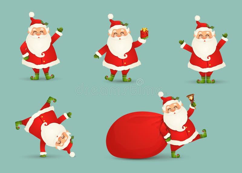 La raccolta del Natale sveglio Santa Claus ha isolato Insieme di Natale del Babbo Natale allegro e divertente per le vacanze inve illustrazione di stock