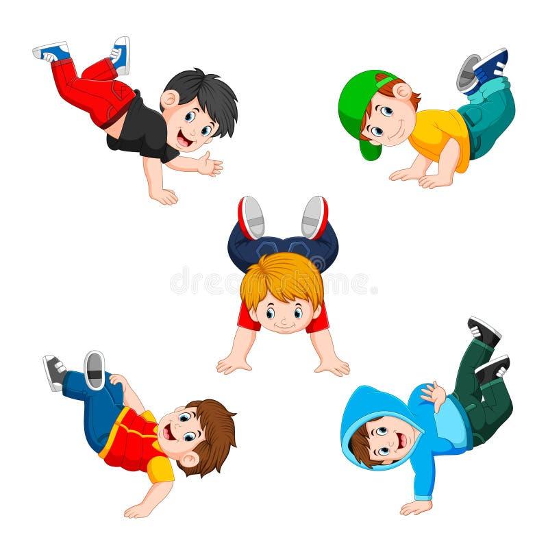 La raccolta del ragazzo che fa allenamento con la posa differente royalty illustrazione gratis