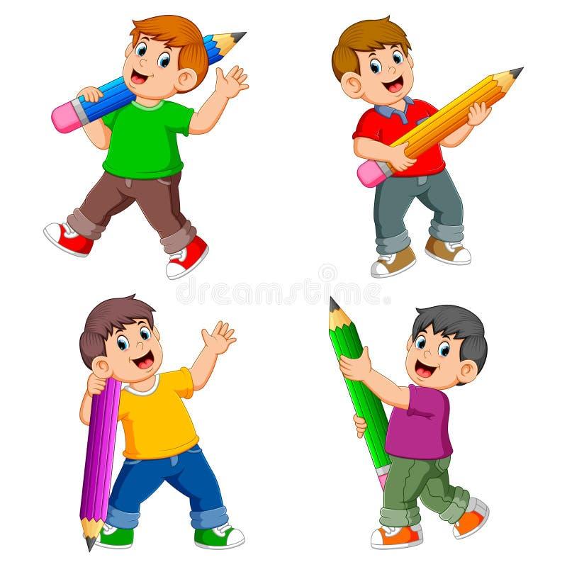 La raccolta del ragazzo che tiene la grande matita con la posa differente royalty illustrazione gratis